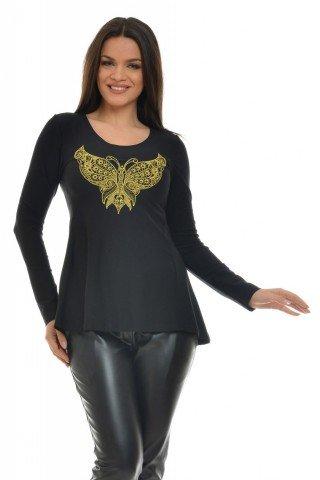 Bluza asimetrica cu fluture brodat auriu