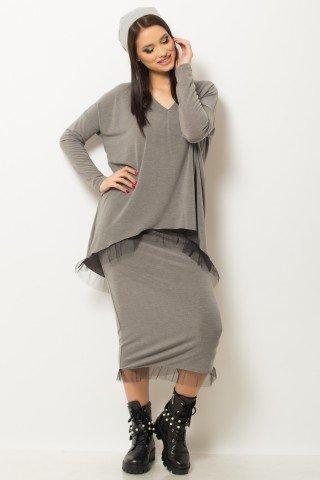 Bluza oversize gri cu detaliu din tul