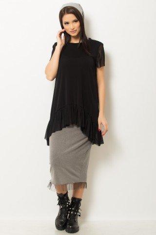 Bluza neagra asimetrica din tul elastic
