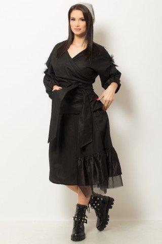 Bluza neagra petrecuta cu cordon in talie