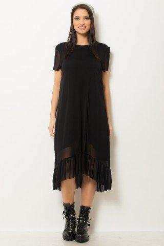 Rochie neagra asimetrica din tul elastic cu maneca scurta