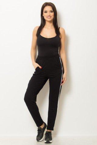 Pantalon negru cu vipusca si buzunare laterale