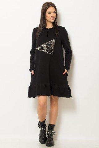 Rochie neagra cu maneca lunga stil hanorac cu gluga si buzunare