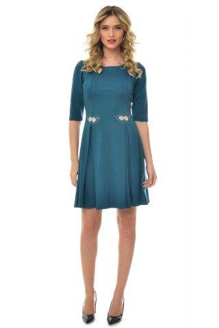 Rochie albastru marin Natalee cu pense si broderie