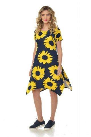 Rochie bleumarin Natalee asimetrica cu imprimeu galben