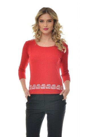 Bluza rosie Natalee din vascoza cu imprimeu alb