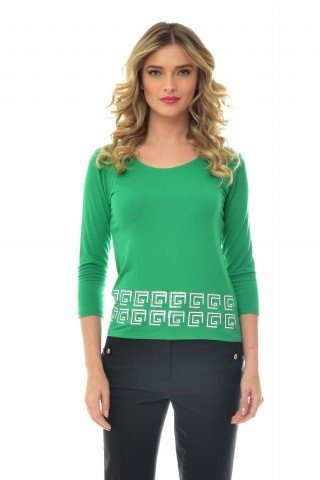 Bluza verde Natalee din vascoza cu imprimeu alb