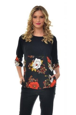 Bluza neagra din vascoza Natalee cu imprimeu floral