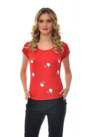 Tricou rosu Natalee cu imprimeu floral