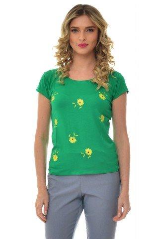 Tricou verde Natalee cu imprimeu floral