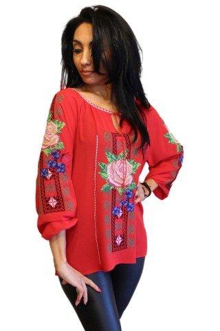Ie Traditionala Romaneasca rosie brodata in stil neoetnic