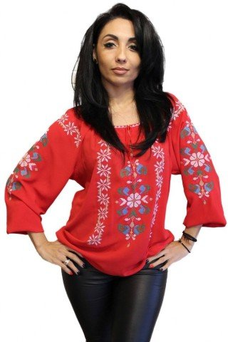 Ie Traditionala Romaneasca rosie brodata cu motiv romb