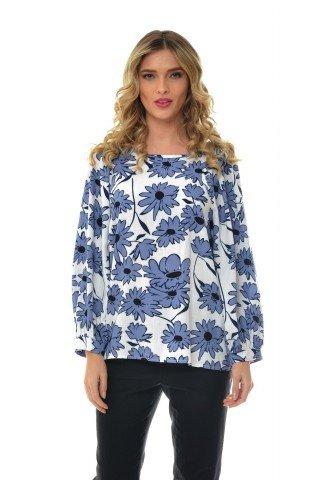 Bluza alba Natalee din in cu imprimeu floral