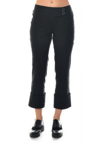 Pantaloni negri Natalee cu nasturi