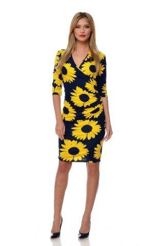 Rochie bleumarin Natalee cu imprimeu floral galben