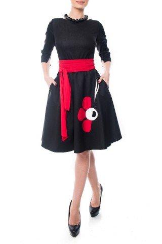 Rochie de zi din denim cu aplicatii