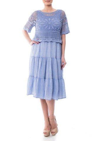 Rochie albastra din bumbac Dona Kyros cu bolero