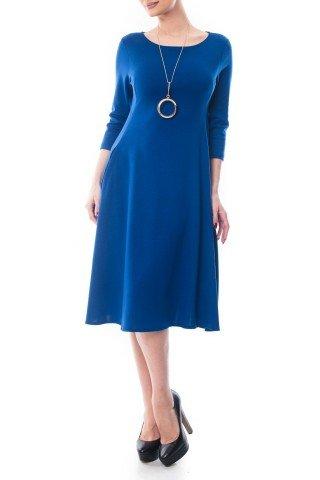 Rochie albastra in clos Dona Kyros cu buzunare