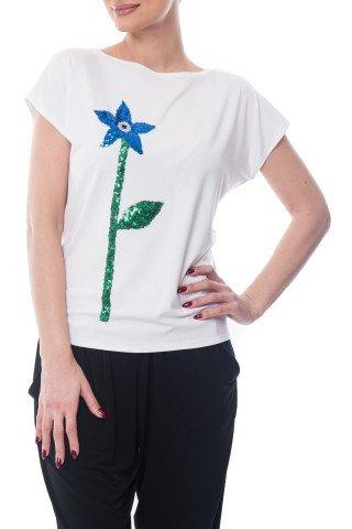 Tricou alb din vascoza cu florare din paiete aplicata