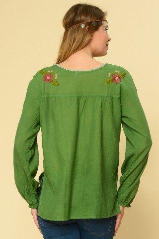 Bluza verde tip iie brodata manual