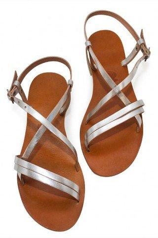 Sandale din piele realizate manual cu barete argintii