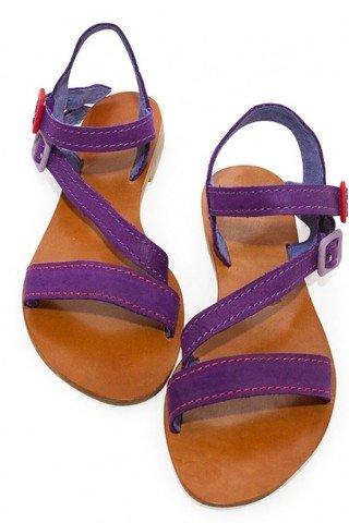 Sandale din piele realizate manual cu barete mov