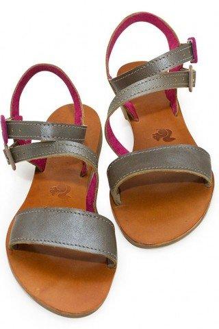 Sandale din piele realizate manual cu barete argintiu-roz