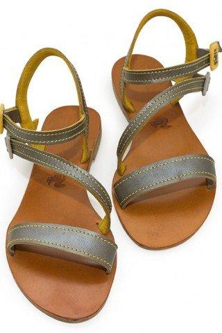 Sandale din piele realizate manual cu barete argintiu-galben