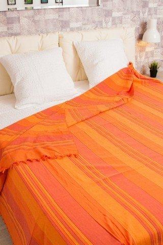 Cuvertura dubla portocalie in dungi