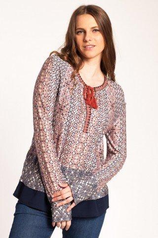 Bluza roz cenusiu Abena din vascoza cu imprimeu si terminatie din voal
