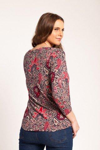 Bluza bleumarin Luky casual cu imprimeu floral rosu