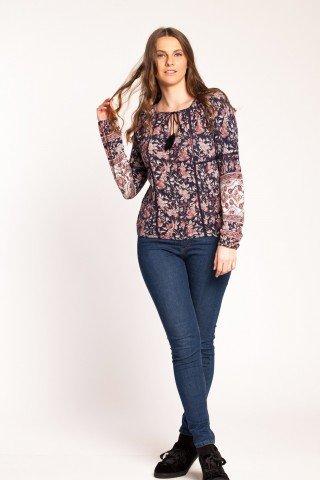 Bluza bleumarin Abrienta cu imprimeu floral si broderie sparta