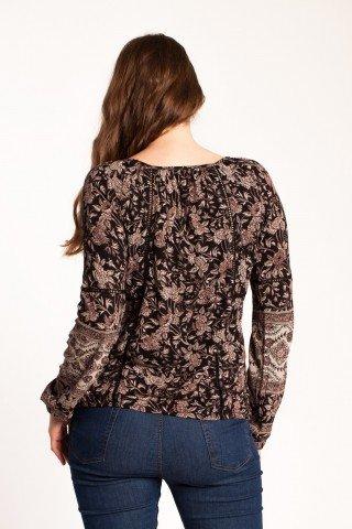 Bluza neagra Abrienta cu imprimeu floral si broderie sparta