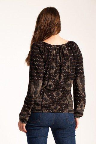 Bluza neagra Carolina casual imprimata