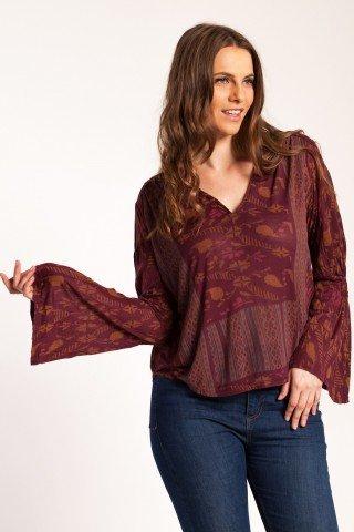 Bluza visinie Abby din bumbac cu imprimeu etno