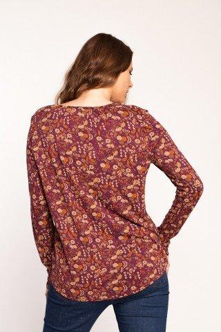 Bluza visinie Adania din bumbac cu imprimeu floral si broderie