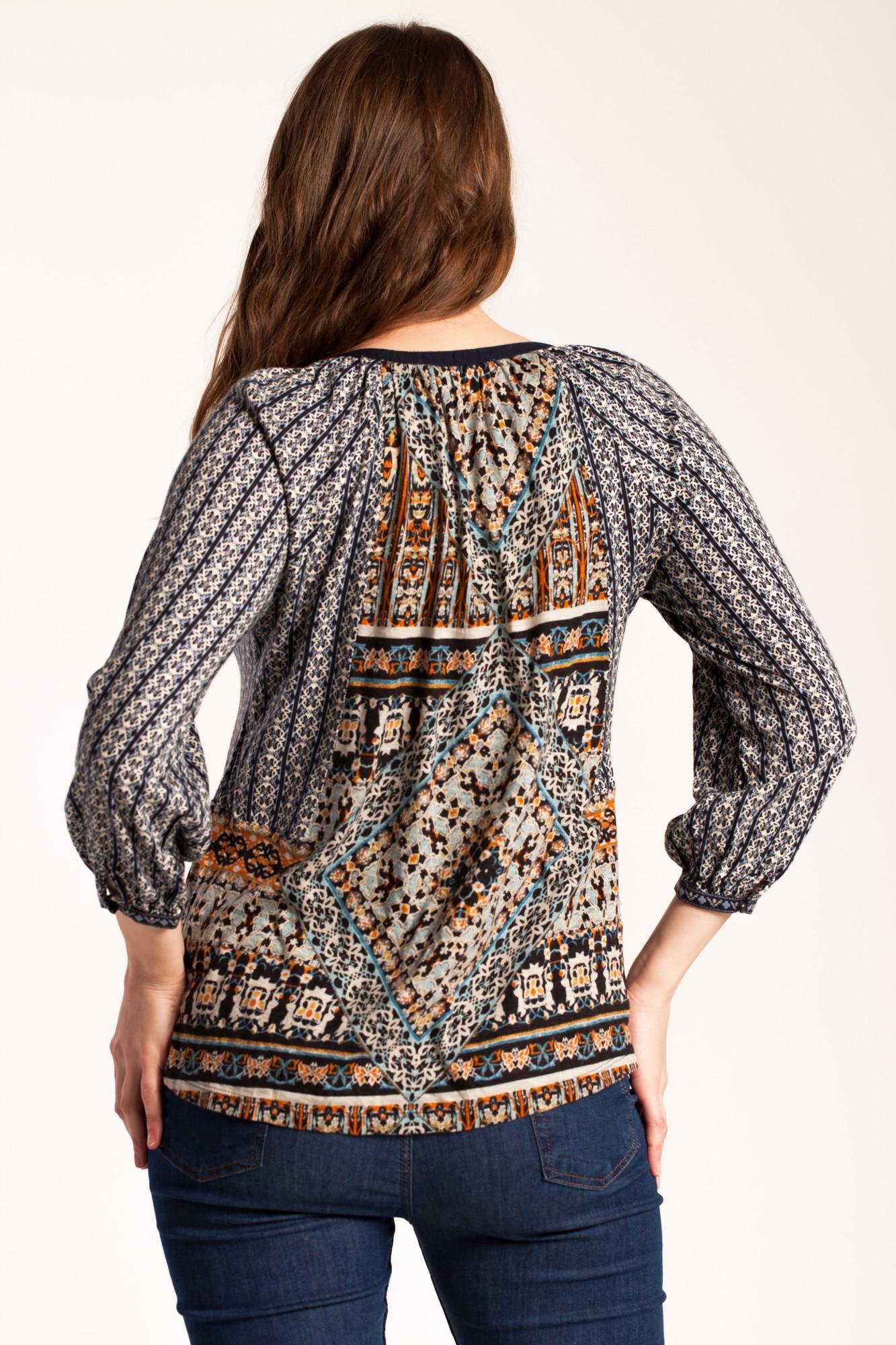 Bluza bleumarin Adelana din bumbac cu platca brodata