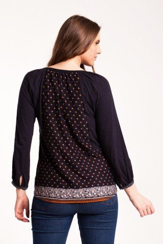 Bluza bleumarin Adelana din bumbac cu imprimeu si platca brodata
