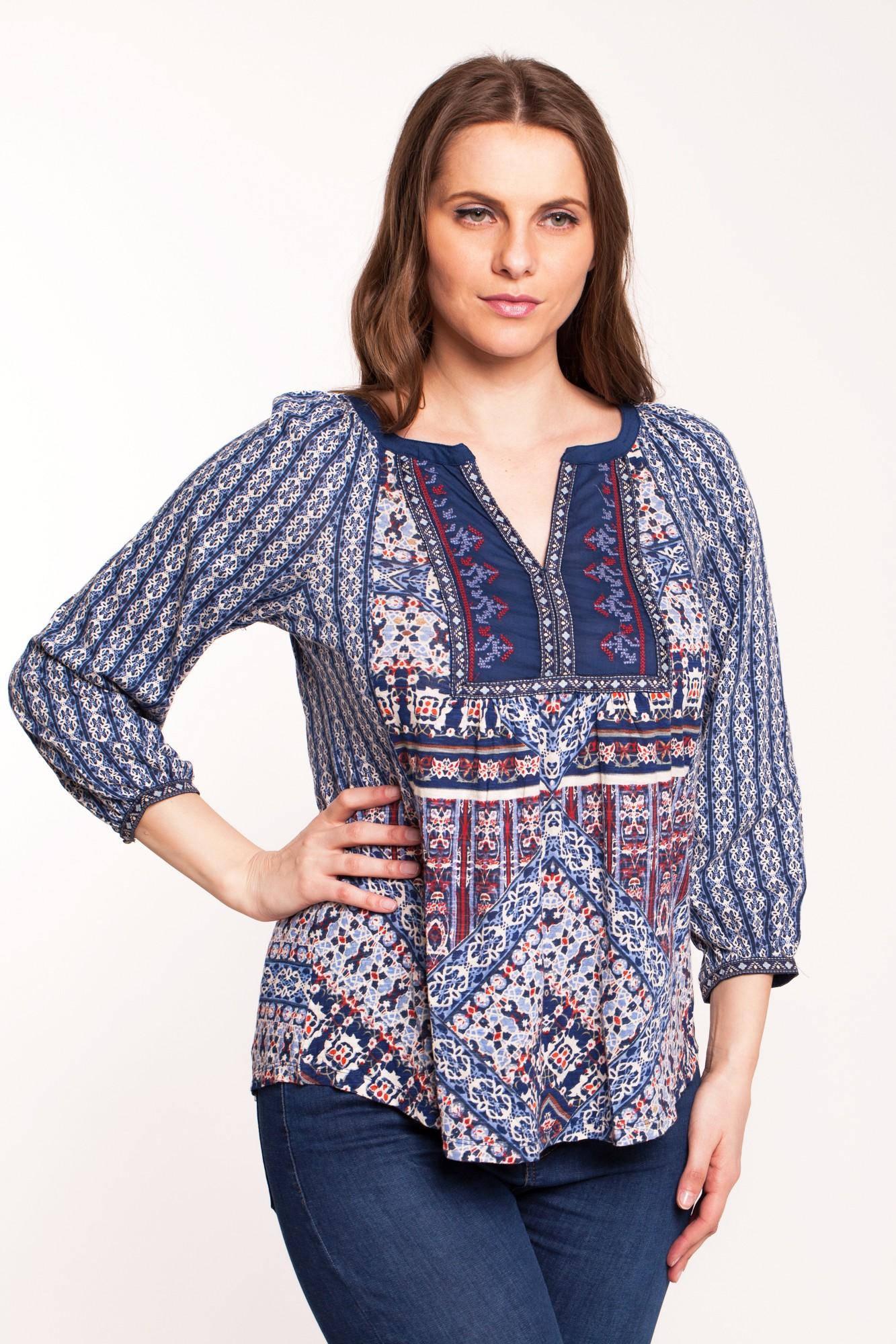 Bluza multicolora Adelana din bumbac cu platca brodata