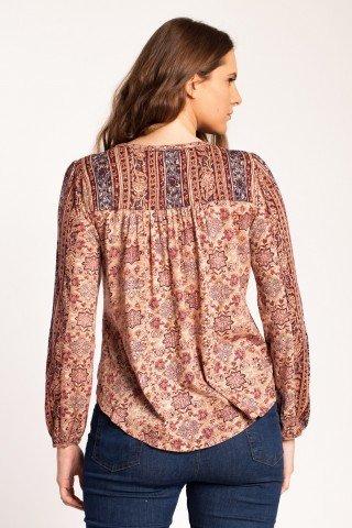 Bluza roz cenusiu Adisa cu imprimeu si aplicatii