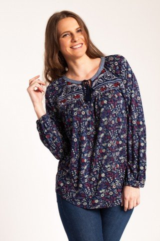 Bluza bleumarin Alona din vascoza cu imprimeu si broderie