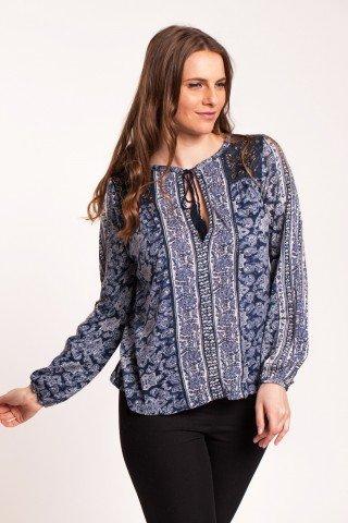 Bluza bleumarin Adisa cu imprimeu si aplicatii