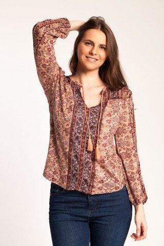 Bluza roz cenusiu Alia casual cu imprimeu si broderie sparta
