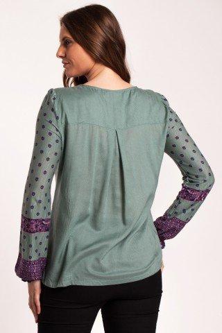 Bluza verde marin Antigona din bumbac cu broderie si imprimeu