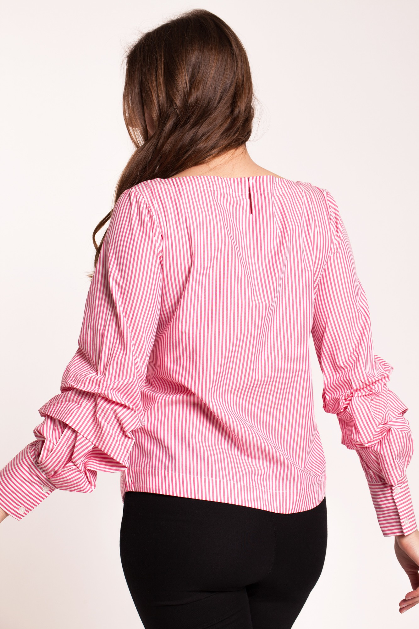 Bluza office dungi roz cu maneci fronsate