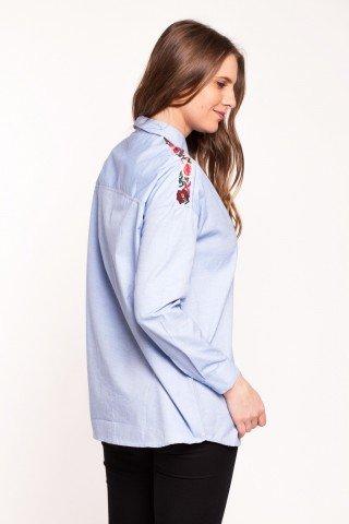 Camasa bleu cu broderie florala