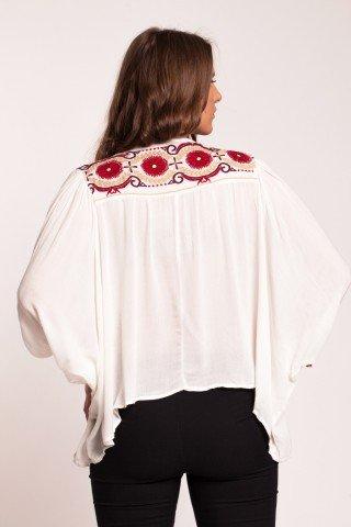Bluza boho crem cu platca brodata Reyah