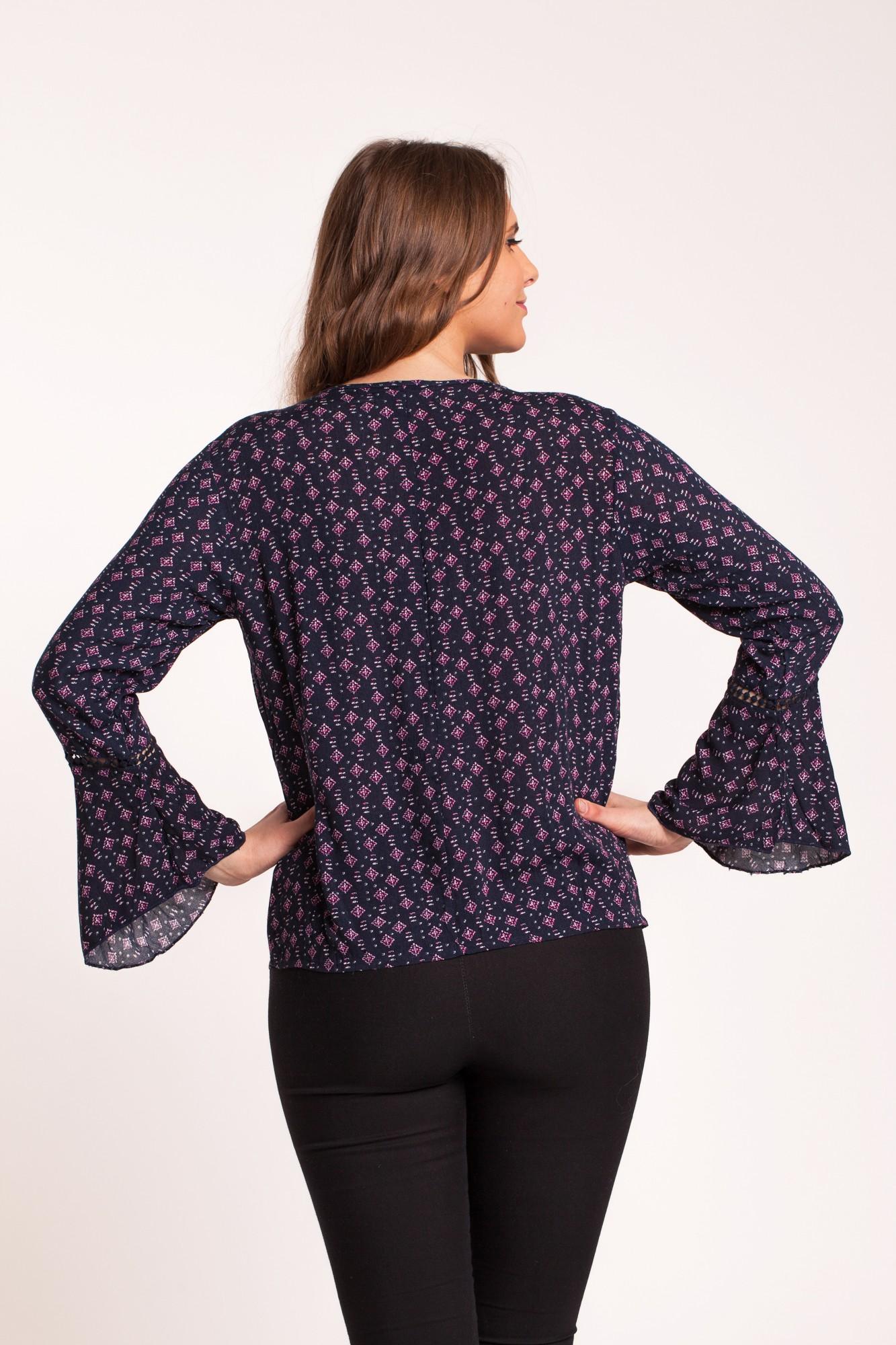 Bluza bleumarin vascoza cu imprimeu Reyna