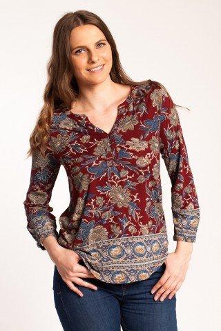 Bluza visinie Carla din vascoza cu imprimeu floral