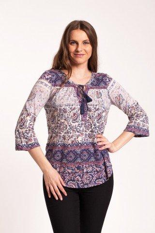 Bluza alba Camelia cu imprimeu floral si ciucuri